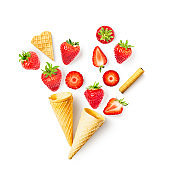 Strawberry in waffle cone
