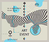 Art event invitation template with date and time details. Background with optical illusion. 3d vector illustration for promotions or presentations.
