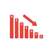 Vector icon concept of revenue sales bar graph moving down