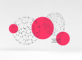 Sphere with connected lines and dots. Global digital connections. Abstract 3d grid design. Technology style. Vector composition for cover, poster, flyer or banner.