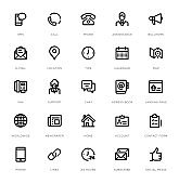Contact Us Line Icon Set