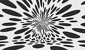 Black and white design. Chaotic particles in empty space. Dynamic background. Vector illustartion.
