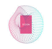 Wireframe object with lines and dots. Abstract 3d connection structure. Geometric shape for design. Lattice element, emblem and icon. Molecular grid. Technology style.