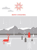 Christmas card . Stylized Christmas deers, snowflakes, forest, Christmas trees, scandinavian  minimalist style