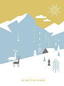 Christmas card . Stylized Christmas deer, mountains, snowflakes, Christmas trees, landscape, simple minimalistic scandinavian style