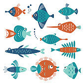 set of whimsical stylized fishes, sea creatures