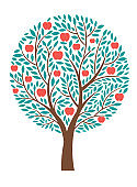 Apple tree, Apple day's greeting card design, place for text