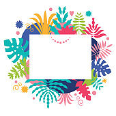 frame with tropical leaves, place for text