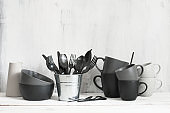 Set of black and grey tableware
