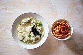 Korean food rice cake and Dumpling Soup, Tteok Mandu Guk