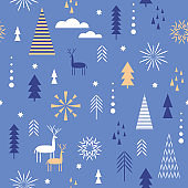 Seamless Christmas pattern, stylized trees, snowflakes in minimalist style