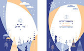 Set of Christmas vertical banners. Stylized Christmas deers, snowflakes, forest, Christmas trees, minimalistic scandinavian style