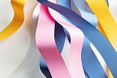 Colorful strips paper tangled, abstract background