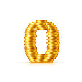 Vector font style made of golden coins.