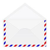 Open white envelope. Vector 3d illustration