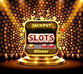 slots 777 banner casino on the golden background. Vector illustration