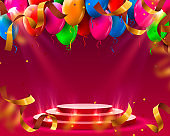 Stage podium with lighting and Balloons, Stage Podium Scene with for Award Ceremony on red Background, Vector illustration