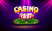 Casino dice banner signboard on background.