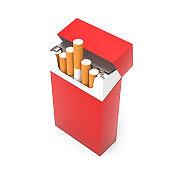 Red open pack of cigarettes. 3d rendering illustration