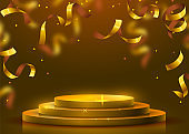 Abstract round podium illuminated with spotlight. Award ceremony concept. Stage backdrop.