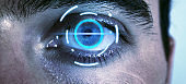Process of scanning. Human eye scanning and recognition