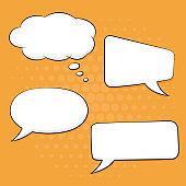 Speech bubbles set on orange background. Pop art comic style