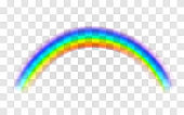 Realistic rainbow. Abstract Colorful Rainbow Template on transparent background.