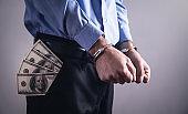 Businessman in handcuffs. Business Crime
