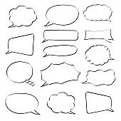Speech bubbles. Hand drawn sketch