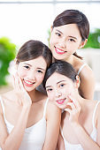 Skin care women smile happily