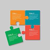 Four pieces jigsaw puzzle squares info graphic.