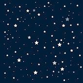 Bright star in blue dark night sky. Background, banner vector illustration.