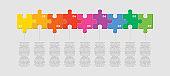 Nine pieces jigsaw puzzle square line infographic