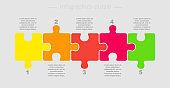 Five pieces puzzle jigsaw squares presentation infographic.