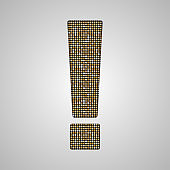 Vector gold sequin or glitter sign exclamation mark.