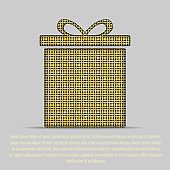 Shopping gift box with gold sequins, glitters. Bright surprise box.