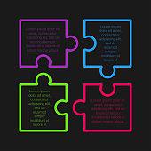 Four steps puzzle squares diagram presentation infographic.