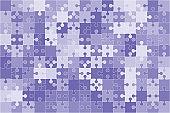 Background with jigsaw puzzle 150 purple pieces, details, parts.