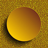 Circle banner or background with gold sequins, glitters.