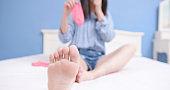 woman has athletes foot
