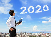 man look to 2020 year