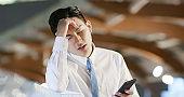 businessman feel upset