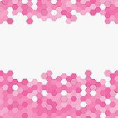 Light pink random hexagon mosaic tiles background.