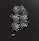 South Korea country map with silver sequins vector
