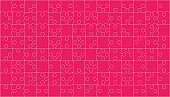 Background with jigsaw puzzle 112 pink pieces, details, items, parts.