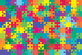 Background with jigsaw puzzle 150 colorful pieces, details, items, parts.