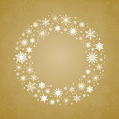 Christmas or New Year wreath made of shining snowflakes.