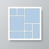 Vector empty collage board eight frames, photo