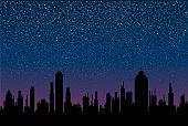 Shining night stars sky in under city. Black silhouette buildings, skyscraper, houses.