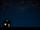 Silhouette of house with starry moon night.